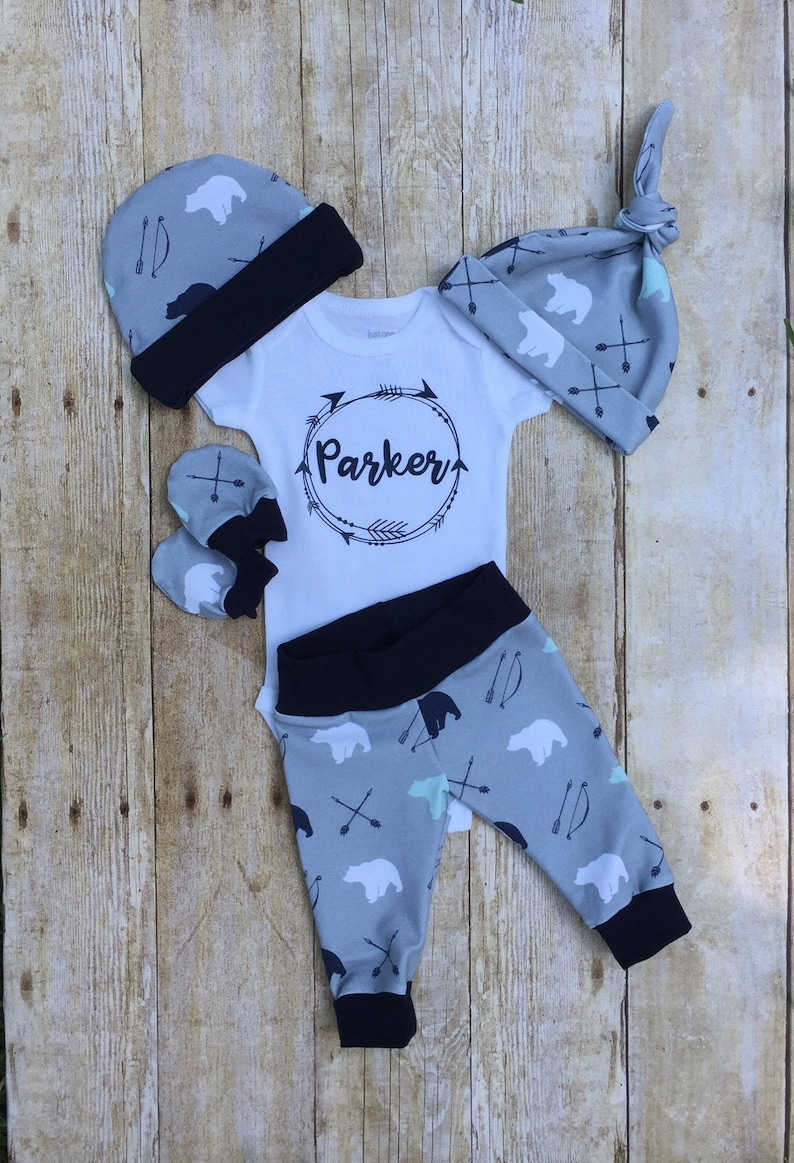 286f867df Arrows Bears Boys Coming Home Outfit Personalized Baby Boy