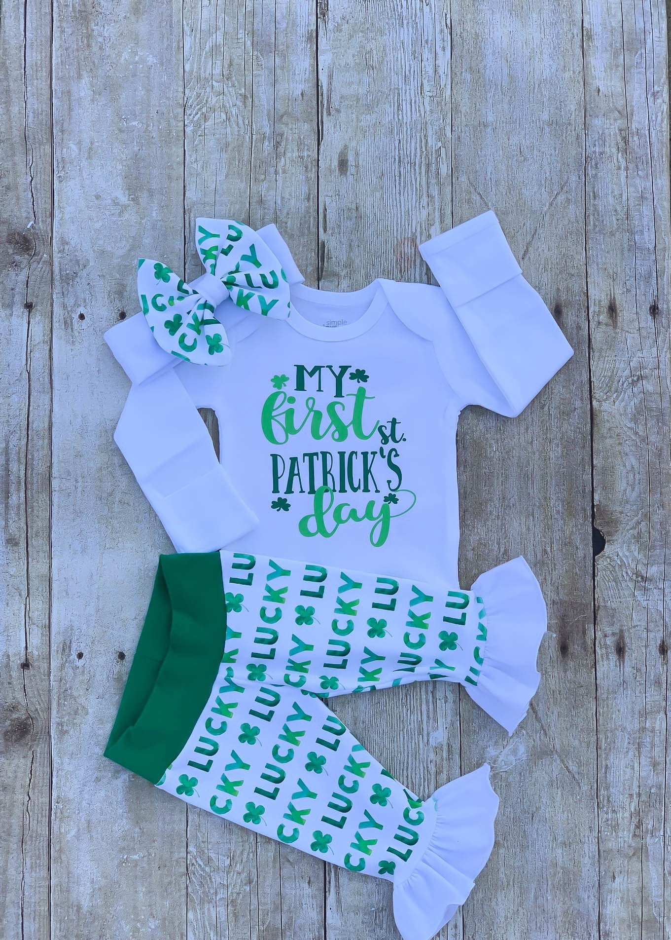 178c9c165 Baby Girl First St Patrick s Day Ruffle Outfit Saint