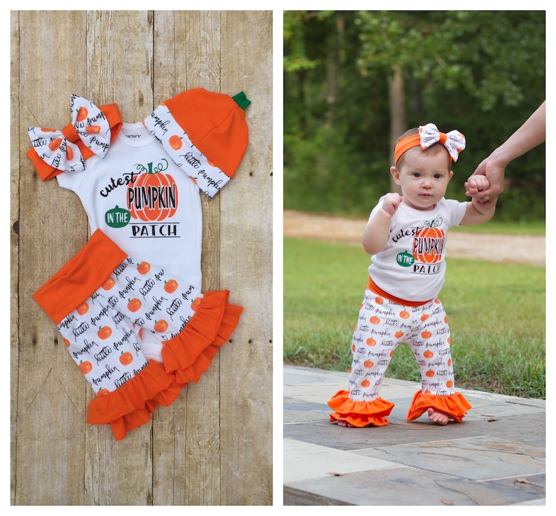 de66601b4 Cutest Pumpkin Patch Outfit, Baby Girl Halloween Fall Thanksgiving Ruffle  Set, Bodysuit, Pants Set, Baby Infant Outfit Set, Baby Shower Gift