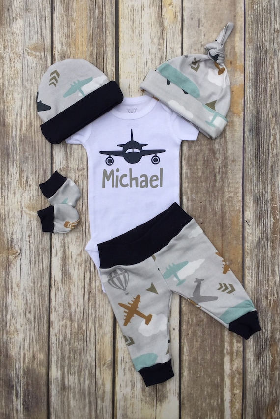 Baby Boy Twins Coming Home Outfit   Airplanes  Vintage Plane  Personalized  Baby Name  Baby Clothes