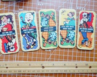 5 anticato domino gioco del cartone litografato 1950s