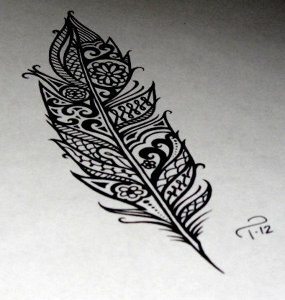 Custom Art Commandée Au Henné Plume Tribal Dessin Tatouage