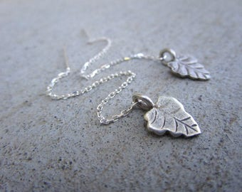 Sterling Leaf Long Threader Earrings Fall Fashion Nature Inspired