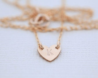 heart necklace, dainty necklace, custom necklace, initial necklace - gold filled