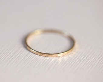 14k gold ring, skinny ring, hammered ring, textured ring, dainty stackable ring - solid gold
