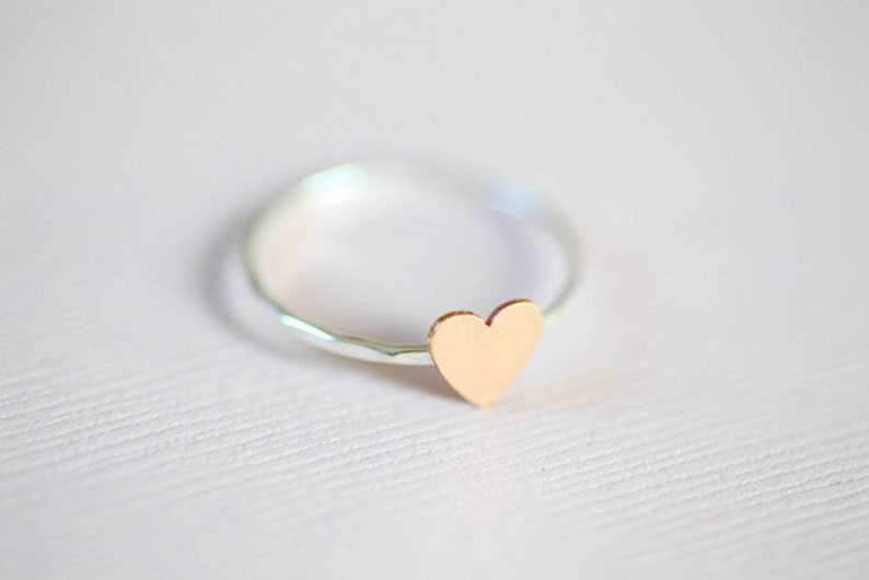 Just a tiny heart ring dainty ring  sterling silver ring image 0