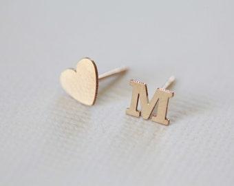 initial earrings, dainty earrings, heart earrings, tiny studs - gold filled