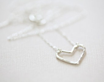 open heart necklace, dainty necklace, gift for her - sterling silver