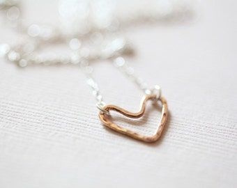 open heart necklace, rose gold necklace, dainty necklace - rose gold filled heart sterling silver necklace
