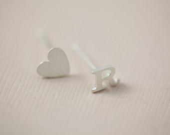 initial earrings, heart earrings, dainty earrings - sterling silver