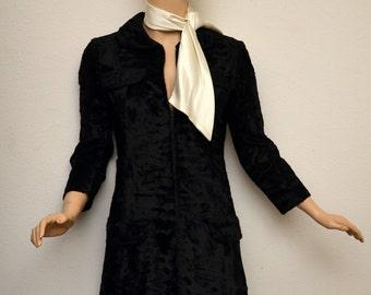Vintage 60s Adele Simpson Black Faux Fur Dress Zipper Front White Silk Scarf