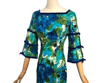 Vintage 70s Hawaiian Sheath Dress by Liberty House for Kiyomi Abstract Blue Floral Velvet bows