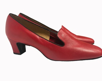 Vintage 60s Cherry Red Leather Pumps Shoes 9B Square Toe Chunky Heel NOS New Old Stock