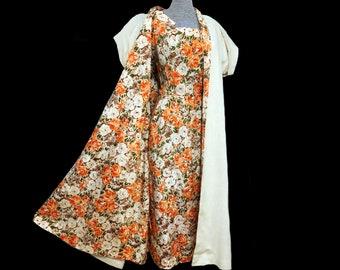 Vintage 50s Orange Floral Dress & Swing Coat Ensemble Set
