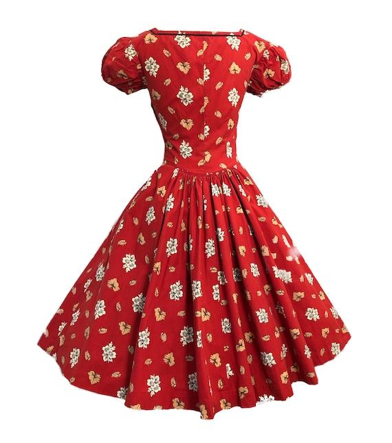 Vintage 50s Tina Leser Dress Cottagecore Red Folk… - image 4