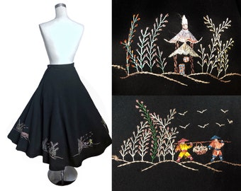 Vintage 50s Black Wool Full Skirt with Asian Embroidery