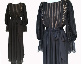 Vintage 70s Black Beaded Sequin Evening Dress by JACK BRYAN Gorgeous Billowy Sleeves, Flowing Chiffon Maxi Gown