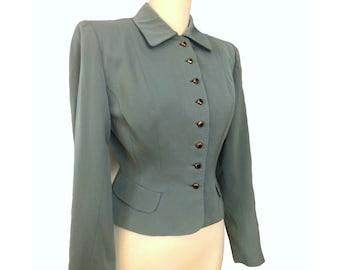 Vintage 40s Sage Green Gabardine Jacket Bonwit Teller Black & Gold Glass Buttons Nipped Waist Peplum