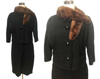 Vintage 60s Black Wool Suit Skirt and Jacket Mink Collar