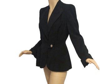 Vintage 40s Jet Black Gabardine Blazer Jacket Broad Shoulders Nipped Waist Rhinestone Button