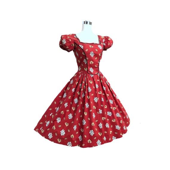Vintage 50s Tina Leser Dress Cottagecore Red Folk… - image 1
