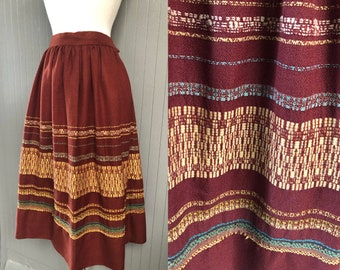 Vintage 70s Handwoven Skirt in Cinnamon, Maize and Aqua