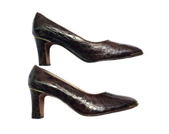Vintage Genuine Alligator Pumps Heels Size 6 1/2 B Designs by Alfredo NOS Metal Tips