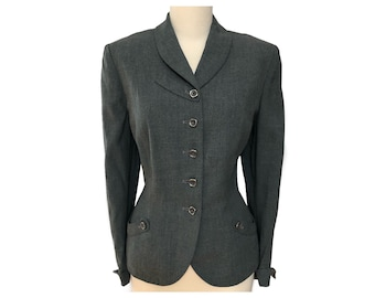 Vintage 40s Heather Green Gray Wool Jacket Blazer Button Tabs B40