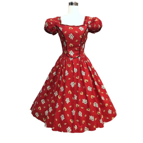 Vintage 50s Tina Leser Dress Cottagecore Red Folk… - image 3