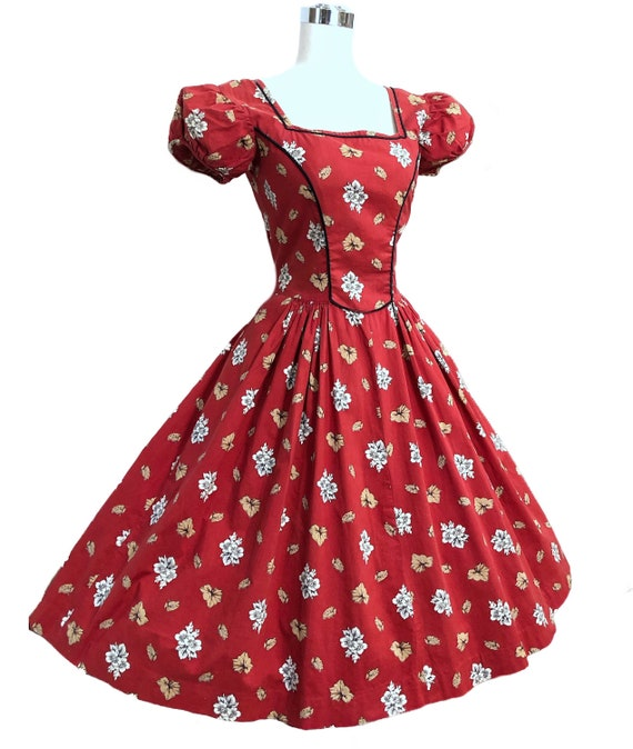 Vintage 50s Tina Leser Dress Cottagecore Red Folk… - image 2
