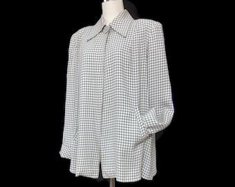 Vintage 40s Swing Jacket Gingham Check Weave Huge Flare Shoulder Pads Bust 46