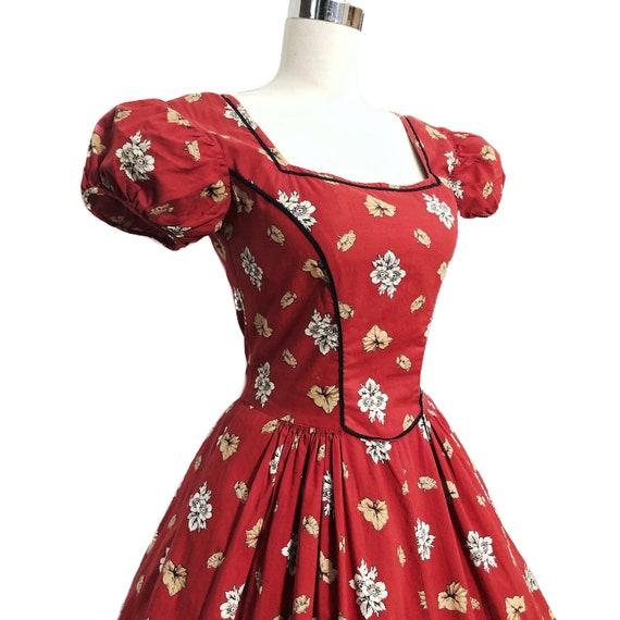 Vintage 50s Tina Leser Dress Cottagecore Red Folk… - image 5