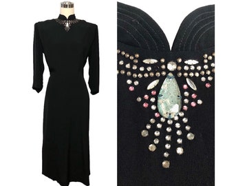 Vintage 40s Black Crepe Dress with Jeweled 'Necklace' and Pleated Tails Rear Drape B41