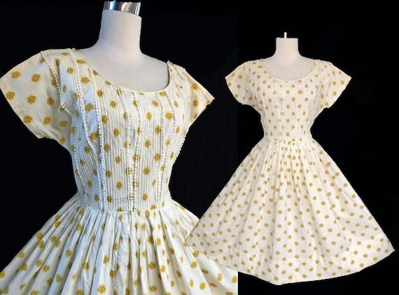 Vintage 50s Cotton Dress Cream & Gold Full Skirt S