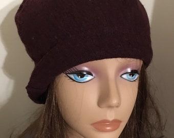 f87fe364 Unisex Felted burgundy man Hat merino wool winter hat for Man Woman upcycled  merino wool sweater Green Item