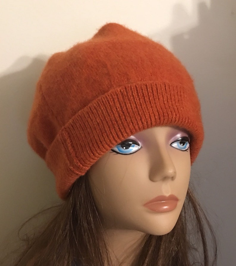 3945469af43 Two ply organge fall colored cashmere Unisex set of slouch hat