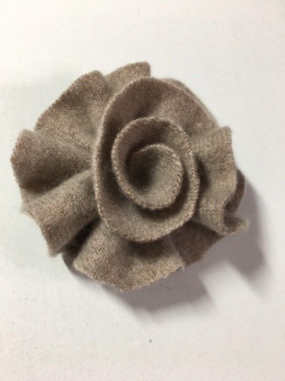 pin Upcycled  cashmere hand sewn primitive hsnd sewn by McLeodhandcraftgifts Light coral cashmere felt flower for hair brooch