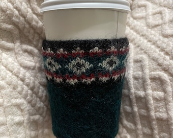 Dark green wool felt coffee warmer with beautiful knit pattern  wool felted coffee cozy fall thanksgiving gifts upcycled lambs wool