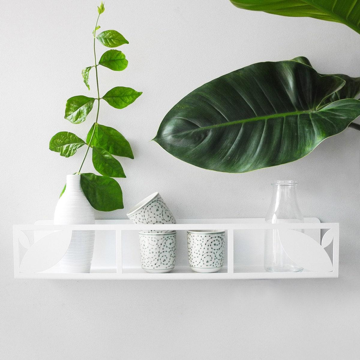 White wall shelf - Decorative floating wall shelf - Metal bookshelf -  Bathroom wall shelf - Bedroom shelf - Scandinavian shelves- Kids deco