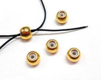 Round Clasp With Rubber Center Gun Metal Tone 7x4mm F119GM Slider Bead 4 pieces