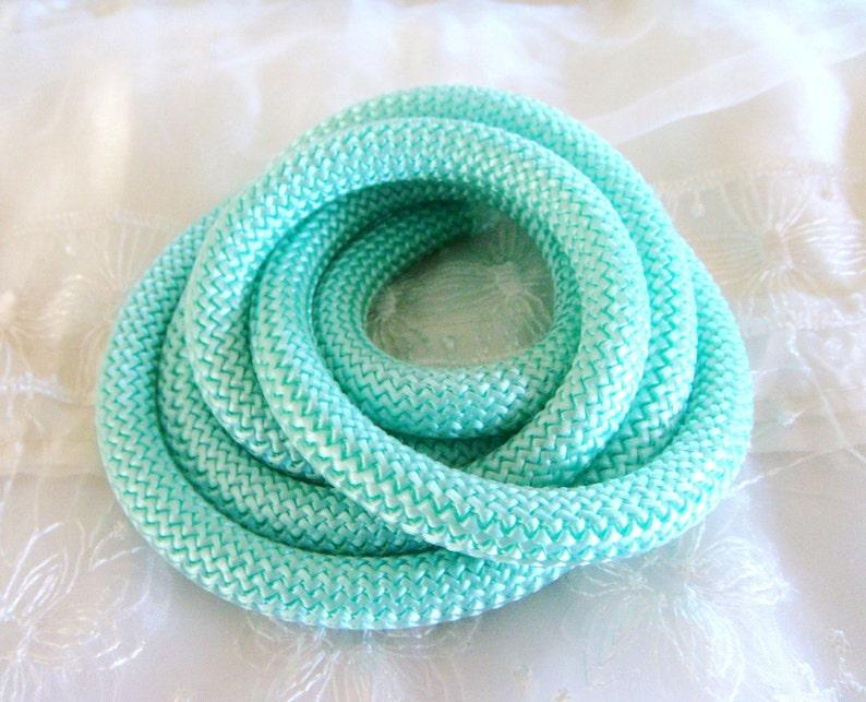 Braided Trim Rope Cord Semisoft Climbing Cord Mint Veraman Striped String Round Cord 9-10mm approx - 1Yard 92cm 1 piece