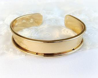 Gold Plated over Brass Bracelet, Bangle Blanks, Cuff Bracelet Base, Bracelet Base Open Design for 10mm Flat Cords 14.5x66mm - 1piece