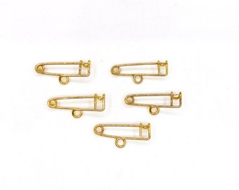 """Gold One Loop Safety Pin Brooch, 1 Hook Safety Pin Brooch, Charm Holder 0,98""""x0,04"""" / 25x1mm - 10 pieces"""