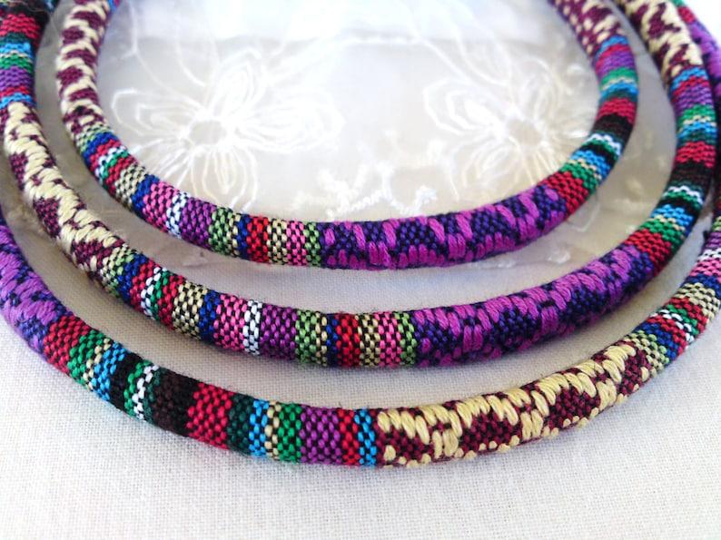 Ethnic Design Cord Purple Red Multi Stitched Fabric Cotton Cord Embroidered Textile Cord 1 piece diameter 6,5mm approx. CC19 - 1Yard