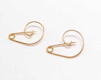 Gold Plated Safety Pin, Handmade Safety Pin Brooch, Charm Holder, Gold Brooch Pin, Gold Kilt Pin 25x18mm - 2pieces