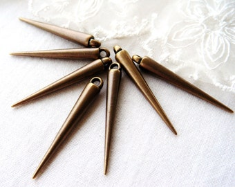 CCB Spike Cone Beads, Bronze Plated, Lightweight Beads 5 x 35,5mm- 20 pieces