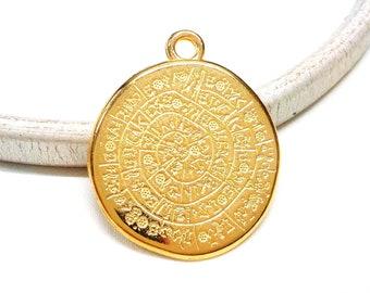 Gold Plated Large Disc Pendant, Ancient Minoan Cretan Phaistos Disc, Greek Design, Double Sided Pendant, Unisex Necklace, 33x35mm  - 1 piece