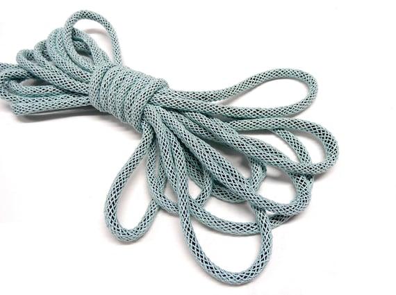 Dark Blue Braided Oval Rope Cord 6x4mm approx Semisoft Trim Cord - 1 yard92cm approx. 1 pc Mesh Cord Artificial Silk Cord