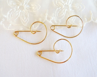 Gold Plated Safety Pin, Handmade Safety Pin Brooch, Charm Holder, Gold Brooch Pin, Gold Kilt Pin 33x23mm - 2pieces