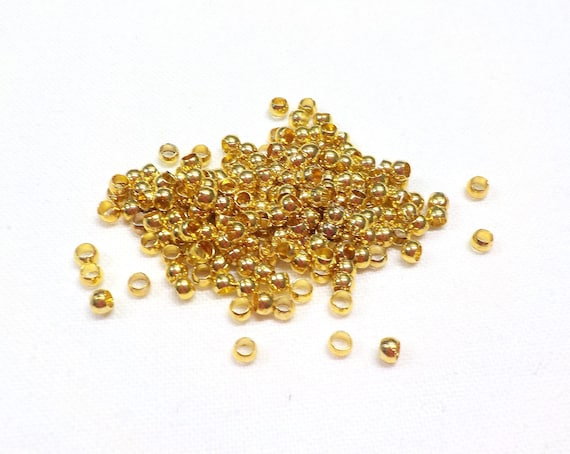 Rose Gold Plated 2mm x1.2mm Brass Crimp Beads Beading Supplies Jewelry Findings